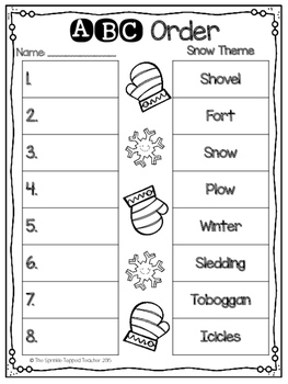 ABC Order Winter Edition Cut and Sort