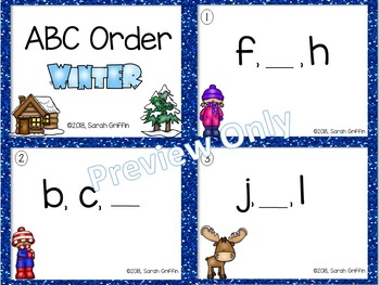 ABC Order ~ Winter ~ Task Cards, SCOOT, Write the Room