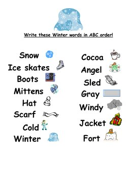 ABC Order Winter Words