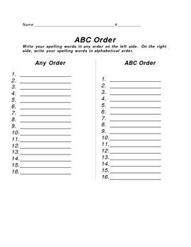 ABC Order Worksheet