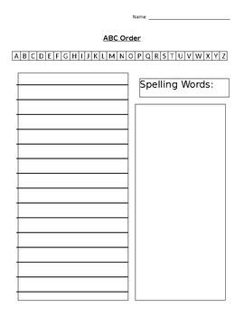 ABC Order Worksheet - EDITABLE