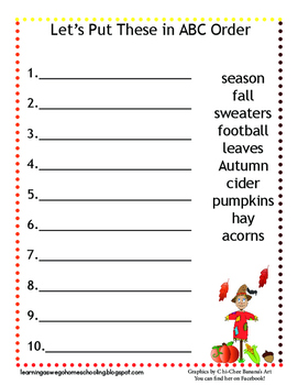 Abc Order Worksheets Fall | Teachers Pay Teachers