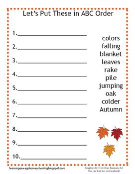 ABC Order Worksheet - Fall Themed - Leaves