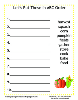 ABC Order Worksheet - Fall Themed - Pumpkin