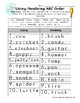ABC Order Worksheet - Living and Non-Living Things