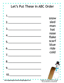ABC Order Worksheet- Snowman and Sled theme Color version