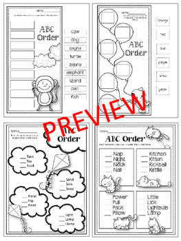 ABC Order Worksheets. Alphabetical Order