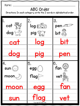 ABC Order Worksheets- Alphabetical Order Practice