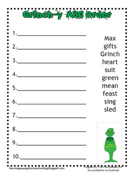 ABC Order Worksheets - Christmas/Winter/Grinch Theme