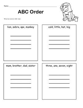 ABC Order for Beginners / 1st Grade