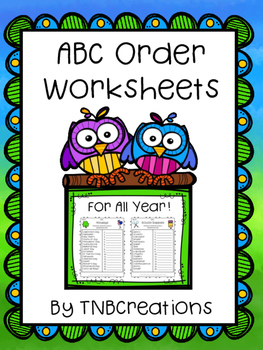 ABC Order Worksheets For All Year