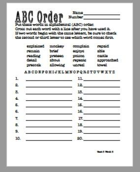 ABC Order Year Bundle - Third Grade Reading Wonders