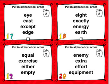 ABC Order and Dictionary Practice Task Cards