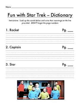 ABC Order and Dictionary Work Star Trek Themed