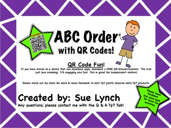 ABC Order for INDEPENDENT word work using QR CODES Great for centers