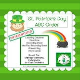ABC Order for St. Patrick's Day