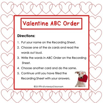 ABC Order for Valentine's Day