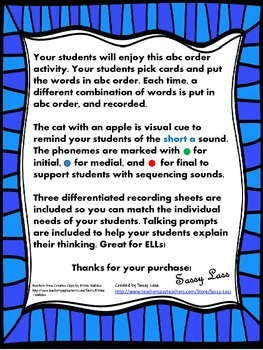 ABC Order short a with blends and digraphs Common Core Aligned