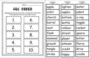 ABC Order to First, Second, and Third Letter