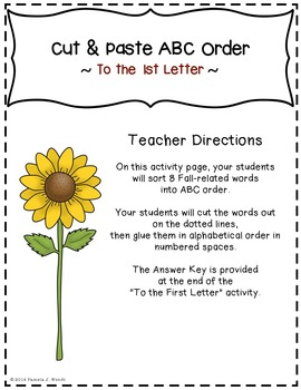 ABC Order to the 1st Letter - Fall into Autumn Theme CCSS Aligned
