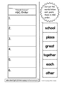 Harcourt Trophies First Grade ABC Order (to the 1st letter) Cut & Paste Activity