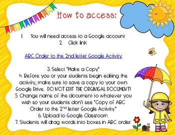 ABC Order to the 2nd letter Google Activity