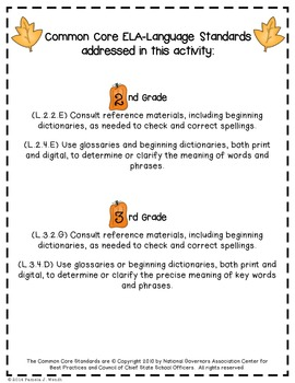 ABC Order to the 3rd Letter - Fall into Autumn Theme CCSS Aligned
