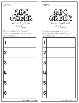 ABC Order to the First and Second Letter Alphabetical Order Workstations Centers