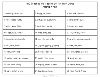 ABC Order to the Second Letter Task Cards