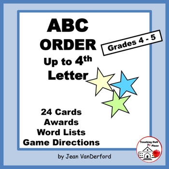 Alphabetical Order | ABC to 4th Letter | Task Cards | Vocabulary LISTS | Gr 4-5