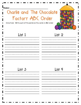 ABC Order using Charlie and the Chocolate Factory