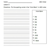 """""""ABC Order"""" with First Grade Journeys Spelling Words"""