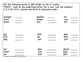 ABC Order with Hints