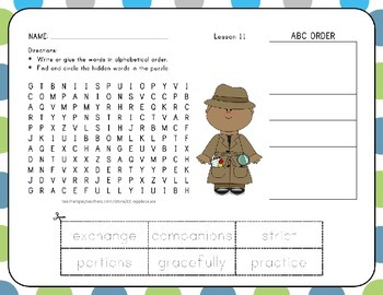 Word Search with ABC Order Unit 3 Bundle - 1st Grade