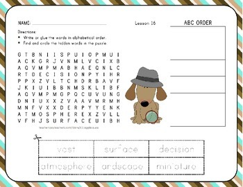 Word Search with ABC Order Unit 4 Bundle - 1st Grade