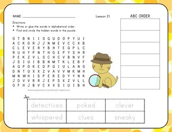 ABC Order with Word Search Unit 5 Bundle - 1st Grade