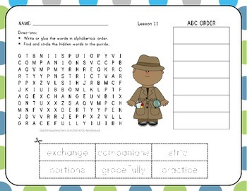 Word Search with ABC Order - At Home in the Ocean - 1st Grade Lesson 11