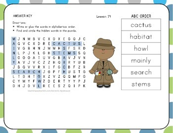 ABC Order with Word Search - The Big Race - 1st Grade Lesson 14