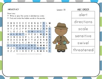 ABC Order with Word Search - Animal Groups - 1st Grade Lesson 15