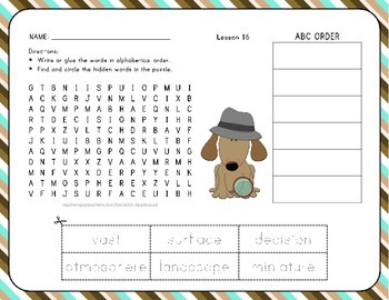 Word Search with ABC Order - Let's Go to the Moon! - 1st Grade Lesson 16
