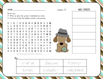 Word Search with ABC Order - The Big Trip - 1st Grade Lesson 17