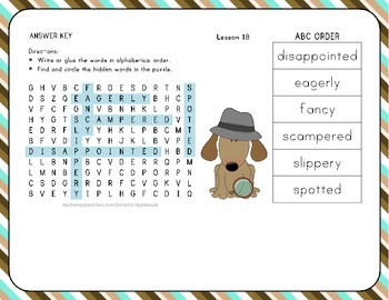 Word Search with ABC Order - Where Does Food Come From? - Lesson 18