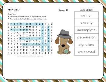 Word Search with ABC Order - Tomas Rivers - 1st Grade Lesson 19