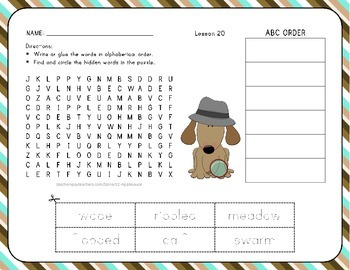 Word Search with ABC Order - Silly Poems - 1st Grade Lesson 20