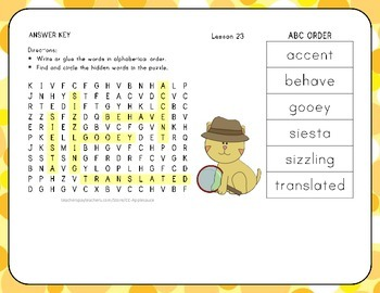 ABC Order with Word Search - Whistle for Willie - 1st Grade Lesson 23