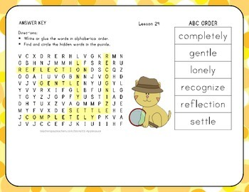 ABC Order with Word Search - A Tree is a Plant - 1st Grade Lesson 24