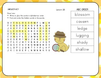 ABC Order with Word Search - The New Friend - 1st Grade Lesson 25