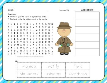 Word Search with ABC Order - Supplement to Journeys 1st Grade Lesson 26