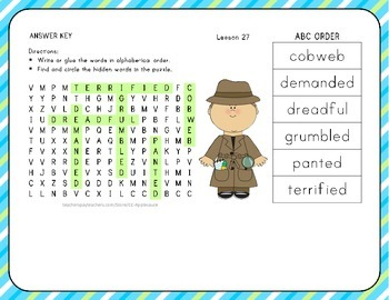 ABC Order with Word Search - What Can You Do? - 1st Grade Lesson 27