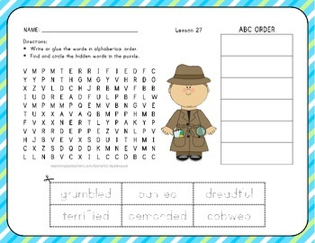 ABC Order with Word Search - What Can You Do? - 1st Grade